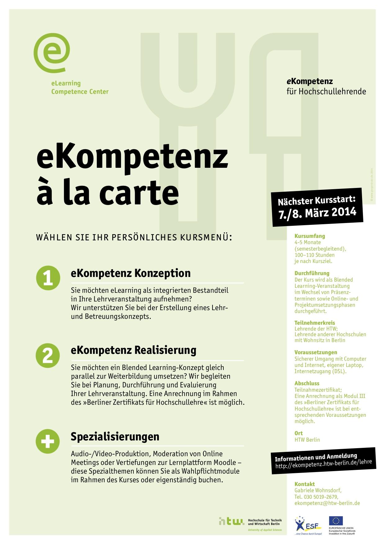 Ab März: eKompetenz-Weiterbildung für Lehrende an der HTW Berlin