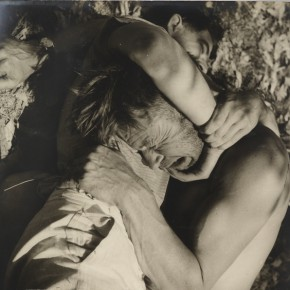 Max Dupain and Chris Vandyke wrestling by Olive Cotton from Camping