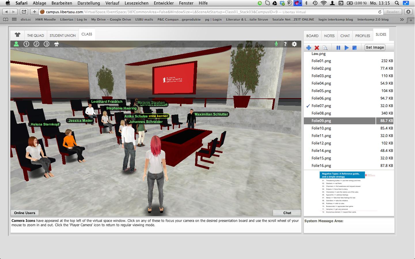 Virtuelle Lehre mit Avataren, Adobe, Skype und Invote