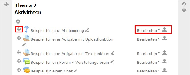 Bild vom Bearbeitungsmodus in Moodle 2.7