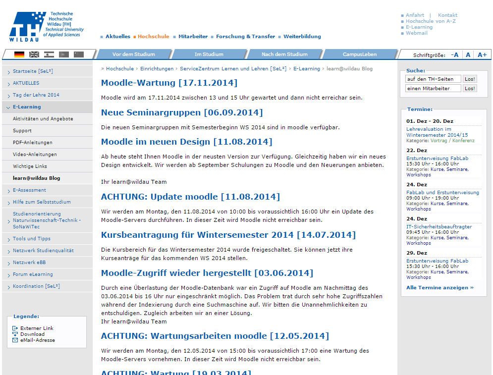 th-wildau_learn-aet-wildau-blog_homepage_screenshot