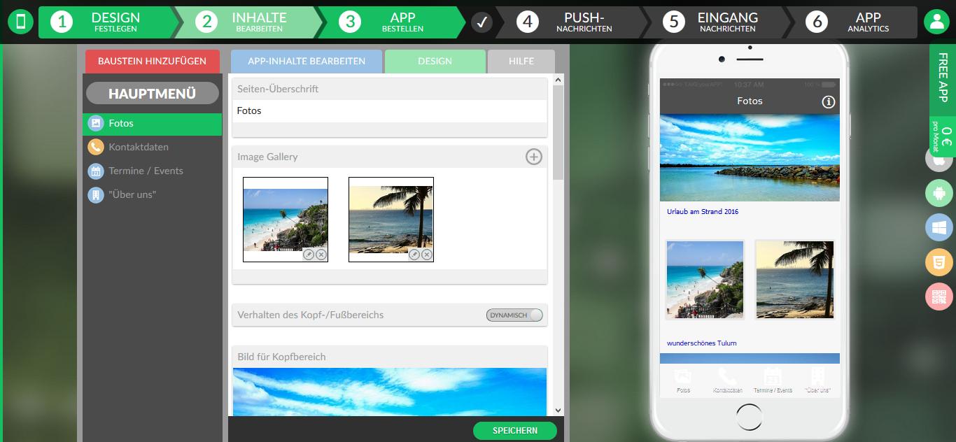 Abbildung 2: Eigene App erstellt mit takeyourapp.com
