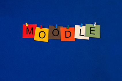 Moodle, sign series for computers, education, internet and technology.