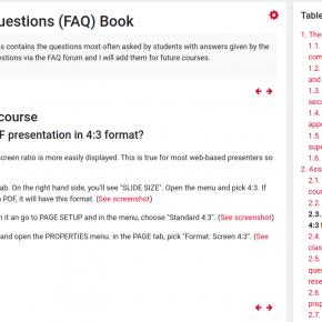 Moodle-Ausschnitt FAQ Book