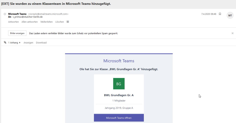 E-Mail Bestätigung für Team Teilnahme